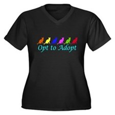 Rainbow Opt to Adopt Women's Plus Size V-Neck Dark
