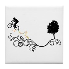 Cute Bike jump Tile Coaster