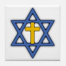 Star of David with Cross Tile Coaster