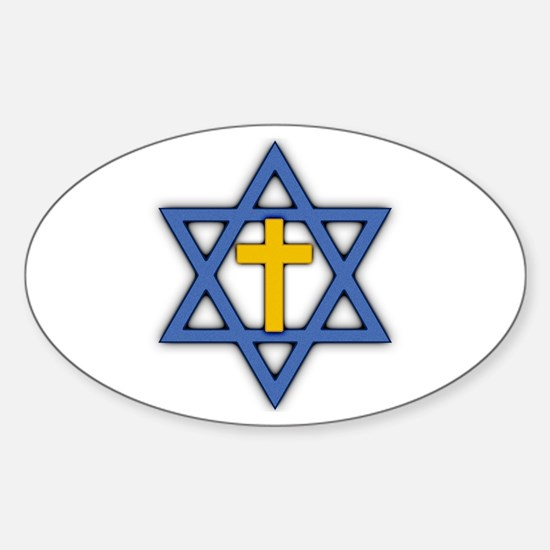 Star of David with Cross Oval Decal