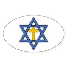 Star of David with Cross Oval Stickers