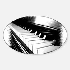 Down The Piano Keys (B&W) Oval Decal