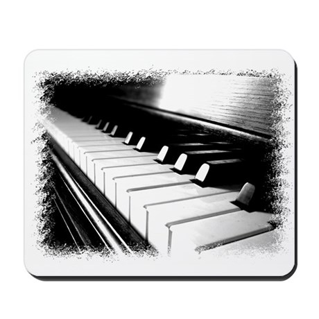 Down The Piano Keys (B&W) Mousepad