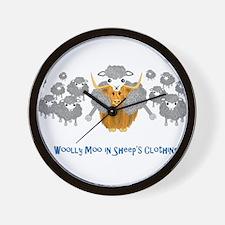 woolly moo in sheep's Wall Clock