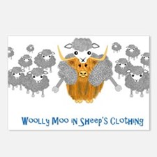 woolly moo in sheep's Postcards (Package of 8)