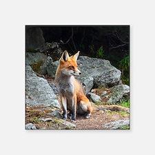 """Funny Fox head Square Sticker 3"""" x 3"""""""