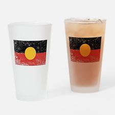 Australian Aboriginal Grunge Flag Drinking Glass
