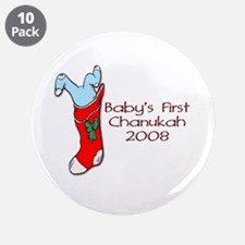"""Baby's 1st Chanukah 08 3.5"""" Button (10 pack)"""
