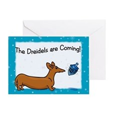 Hanukkah Dreidel Dog Greeting Card