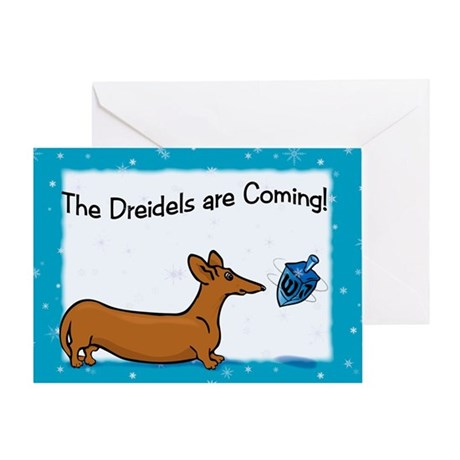 Hanukkah Dreidel Dog Greeting Card