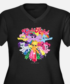 MLP Girls Ru Women's Plus Size V-Neck Dark T-Shirt