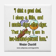 Winston Churchill Cigar Quote Tile Coaster