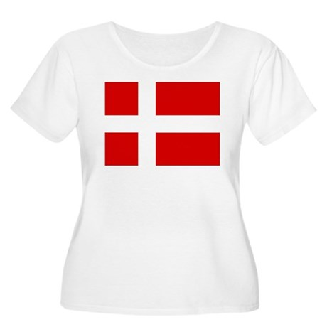 Danish Flag Women's Plus Size Scoop Neck T-Shirt