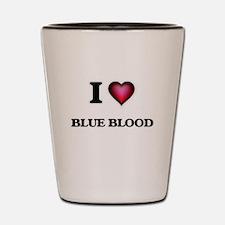 I Love Blue Blood Shot Glass