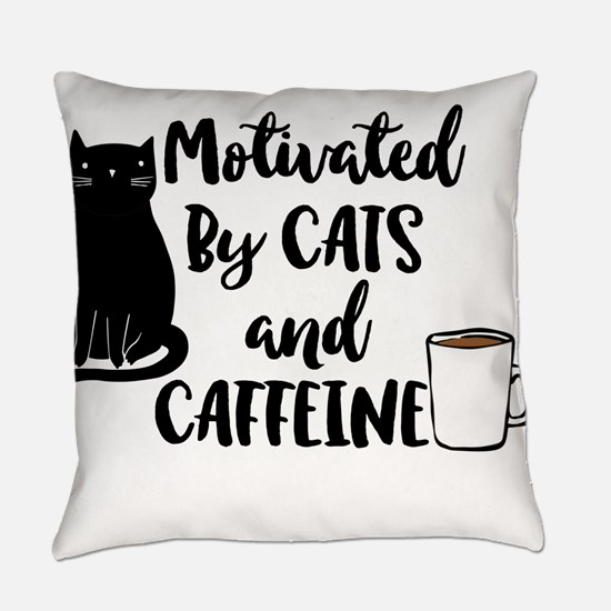 Motivated By Cat And Caffine Everyday Pillow