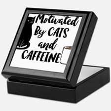 Motivated By Cat And Caffine Keepsake Box