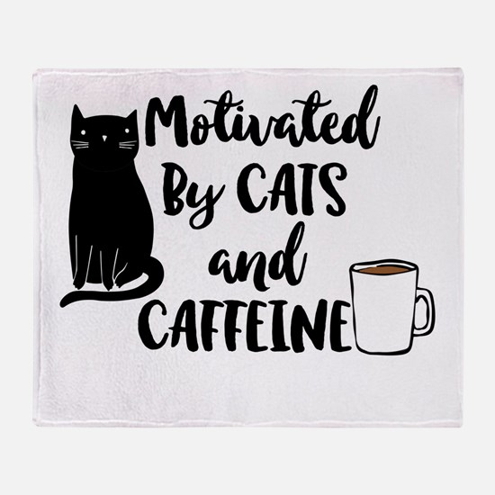 Motivated by cat and Caffine Throw Blanket