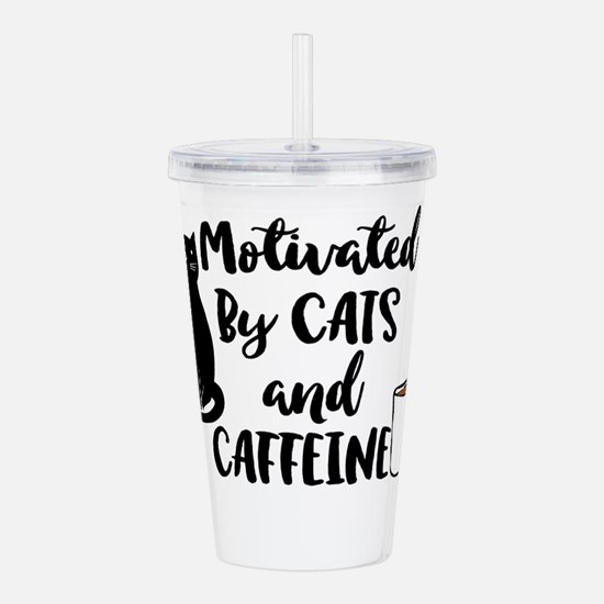 Motivated By Cat And Acrylic Double-Wall Tumbler