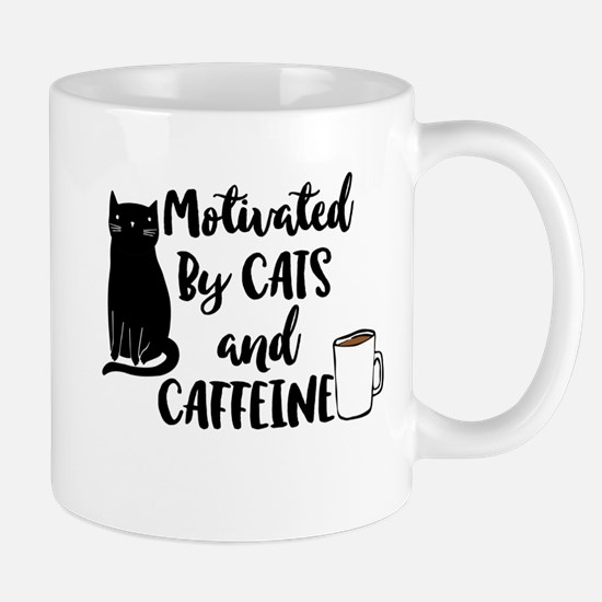 Motivated by cat and Caffine Mugs