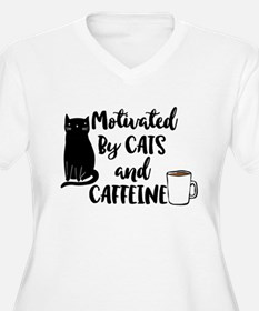 Motivated by cat and Caffine Plus Size T-Shirt