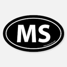 Mississippi MS Auto Sticker -Black (Oval)