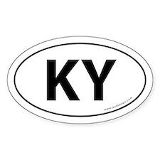 Kentucky KY Auto Sticker -White (Oval)