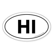 Hawaii HI Sticker Auto Sticker -White (Oval)