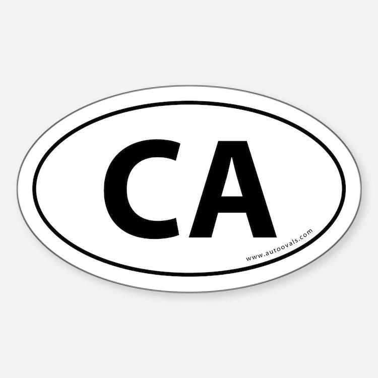 California CA Auto Sticker -White (Oval)