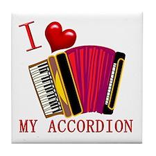 I Love My ACCORDION Tile Coaster