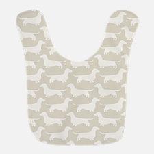 Dachshund Silhouettes Pattern Polyester Baby Bib