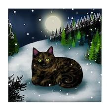 TORTOISESHELL CAT WINTER MOUNTAIN Tile Coaster