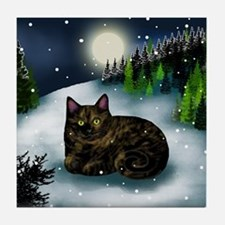 TORTOISESHELL CAT WINTER MOUNTAIN Tile Coaster