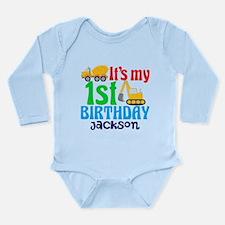 1st Birthday Construct Long Sleeve Infant Bodysuit