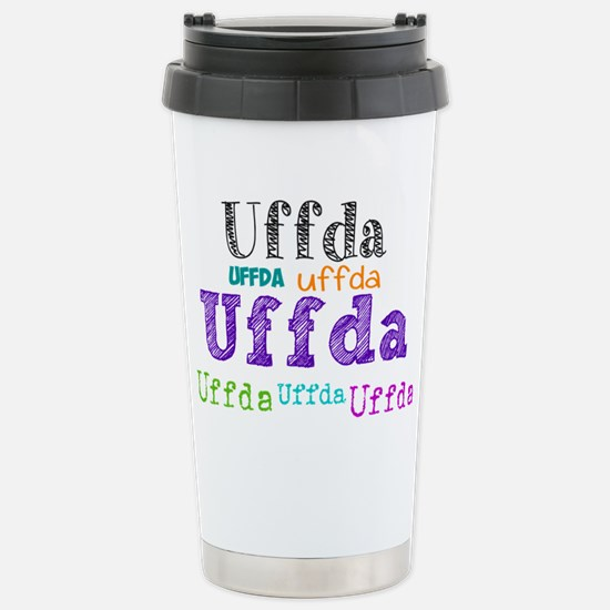 Uffda multi-color text Travel Mug