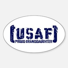 Proud USAF Grnddhtr - Tatterd Style Oval Decal