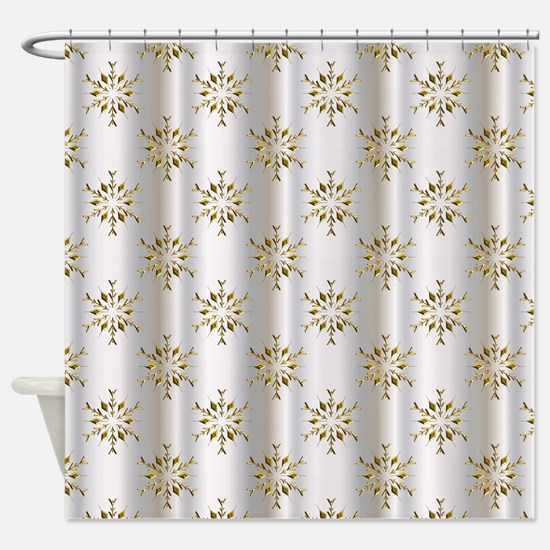gold and silver shower curtain. Gold Christmas Stars on Silver Shower Curtain Snowflake Curtains  CafePress