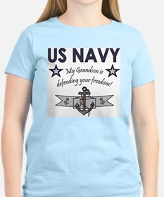 Navy Grandson defending Ash Grey T-Shirt