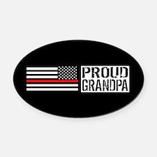 Firefighter: Proud Grandpa (Black Oval Car Magnet
