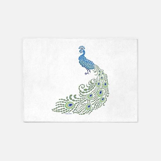 Jeweled Peacock 5'x7'Area Rug