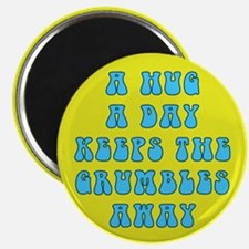 Hug a Day (Blue on Yellow) Magnets