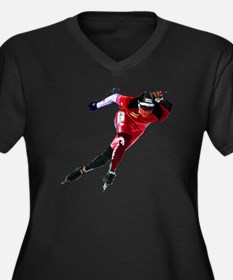 Speed Skater in Red Plus Size T-Shirt
