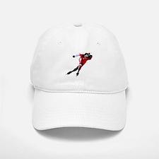 Speed Skater in Red Baseball Baseball Cap