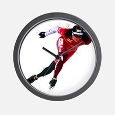 Speed Skater in Red Wall Clock