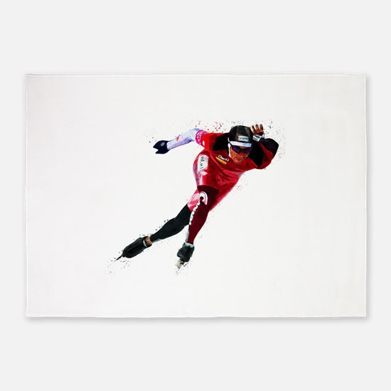 Speed Skater in Red 5'x7'Area Rug