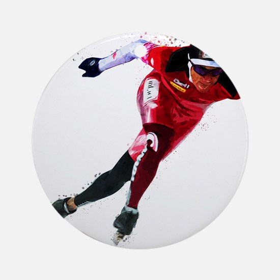 Speed Skater in Red Round Ornament