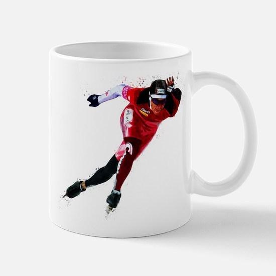 Speed Skater in Red Mugs