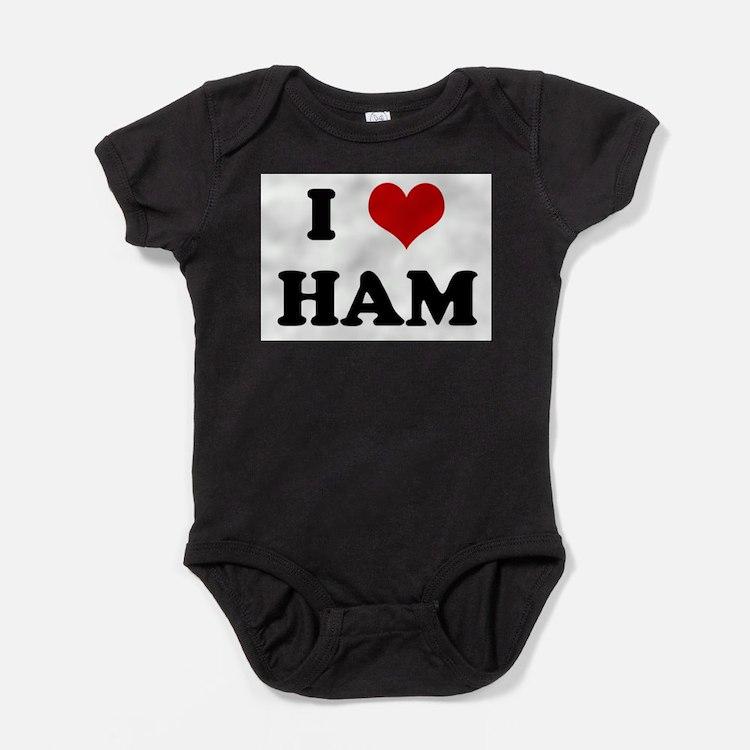 Cute I heart ham eggs Baby Bodysuit