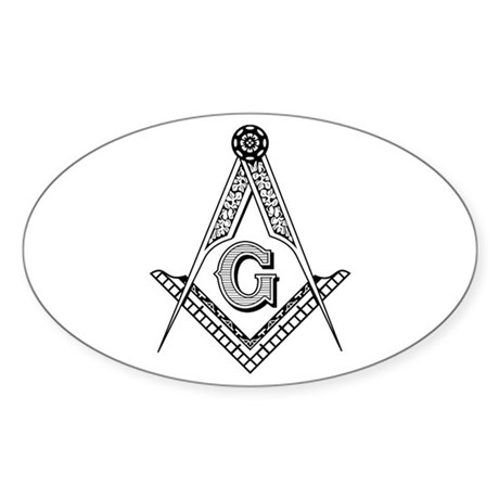 Masonic Symbol Oval Sticker