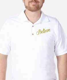 Believe Gold Faux Foil Metallic Glitter T-Shirt