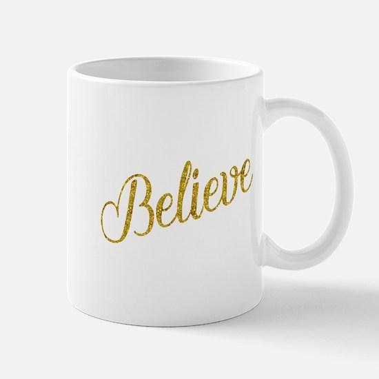 Believe Gold Faux Foil Metallic Glitter Quote Mugs